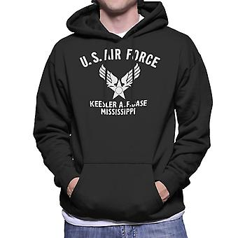 US Airforce Keesler AF Base Mississippi White Text Men's Hooded Sweatshirt