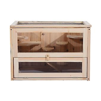 PawHut Wooden Hamster Cage Mouse  Mice Rodent Small Animals Hutch Exercise Play House 60 x 35 x 42cm
