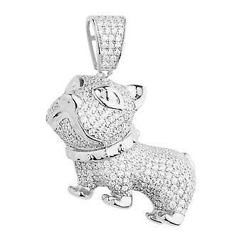 Premie Bling - 925 sterling zilver 3D hond aanhangwagen