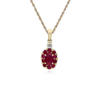 Cluster Round Ruby & Diamond Oval Pendant Necklace in 9ct Yellow Gold 135P1912019