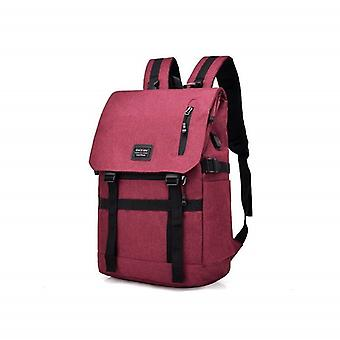 Flexible backpack with USB-wine red