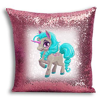 i-Tronixs - Unicorn Printed Design Rose Gold Sequin Cushion / Pillow Cover with Inserted Pillow for Home Decor - 17