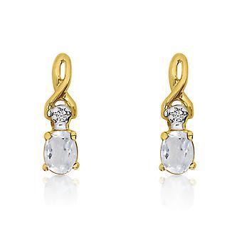 LXR 14k keltainen kulta soikea valkoinen topaasi ja timantti korvakorut 0.23ct