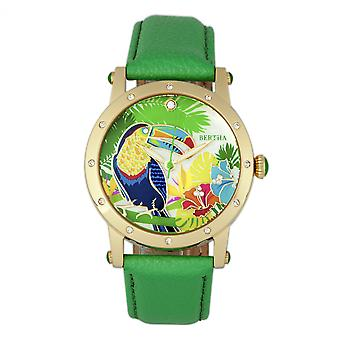 Bertha Gisele MOP Leather-Band Ladies Watch - Gold/Green