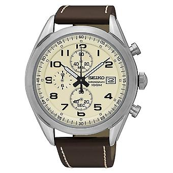 Seiko Mens Chronograph Quarz Watch with Leder-Strap (Modell Nr. SSB273P1)