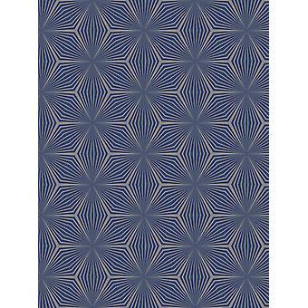 Geométrica estrela wallpaper prata/azul Holden 12617