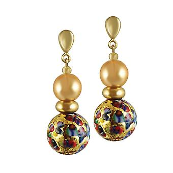Eternal Collection Mosaic Millefiori/Gold Venetian Murano Glass Drop Pierced Earrings
