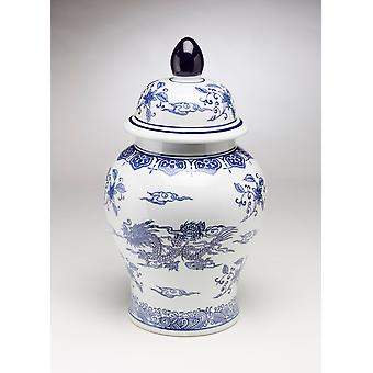 AA Importing 59828 18 Inch Blue And White Ginger Jar With Lid