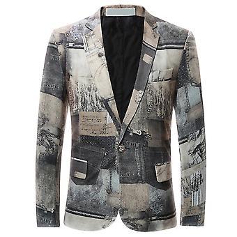 Allthemen menns funky trykt blazer en knapp utstyrt jakke Party Wear
