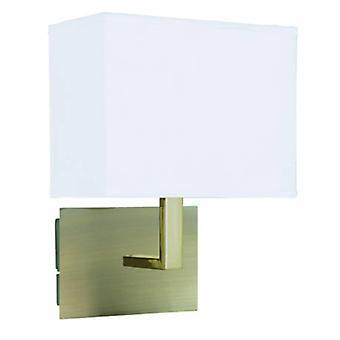 1 luz parede interior luz de bronze antigo com sombra retangular branca