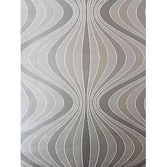 Retro Geometric Wave Wallpaper Stripes Gold Silver Grey Paste Wall Decorline