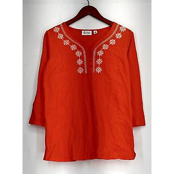 Denim & Co. Top 3/4 Sleeve Embroidered Floral Detail Orange New A27899