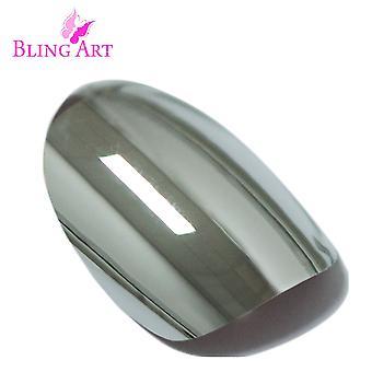 Faux ongles par silver art bling chrome métallique ovale moyen faux ongles conseils colle