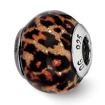 925 Sterling Silber poliert Reflexionen braun Jaguar Glitter Overlay Glasperle Anhänger Anhänger Halskette Schmuck Geschenke fo