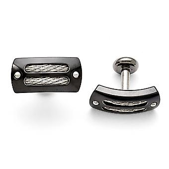 Titanium Ster.sil Black Ti Polished With Cable Inlay Cuff Links Jewelry Gifts for Men