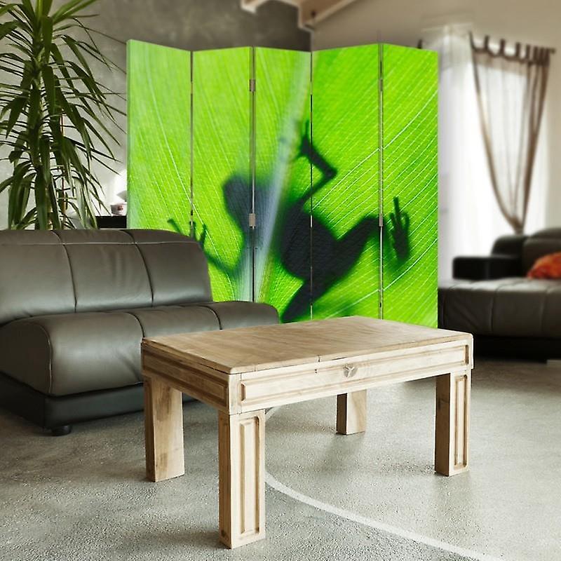 Diviseur de chambre, 5 panneaux, double-sided, 360 rotatable, toile, grenouille verte sur une feuille