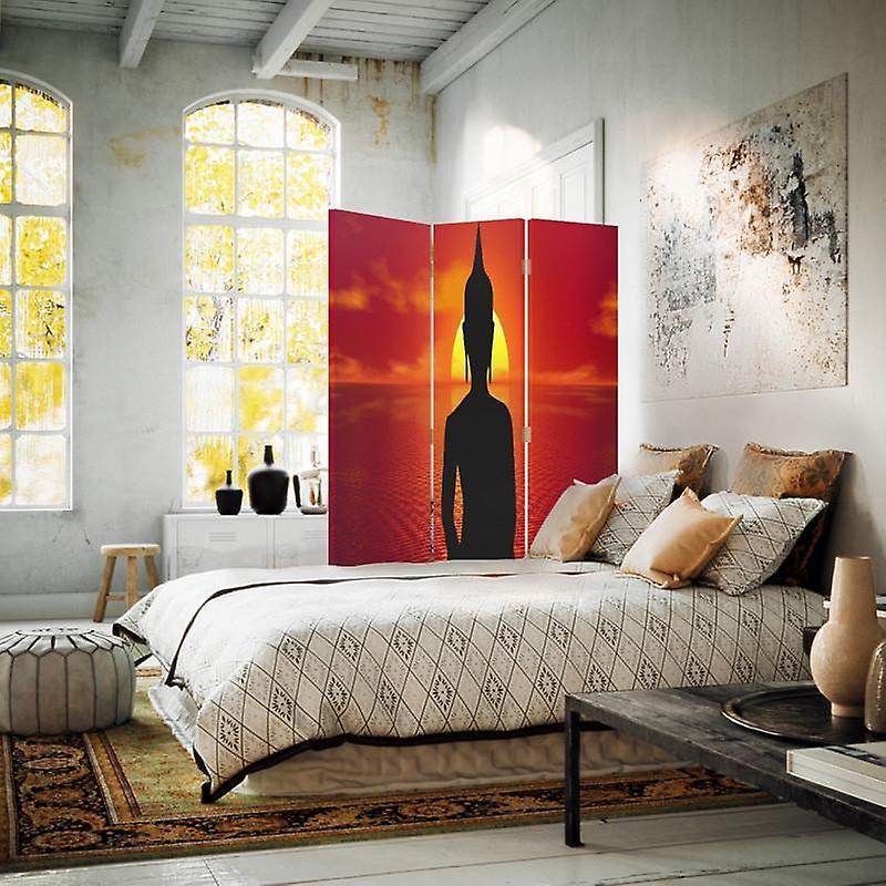 Diviseur de chambre, 3 panneaux, unilatéral, toile, méditation de Bouddha
