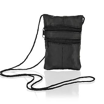 "Black Leather Small Cross 7.0"" Body Bag Multi Zips"
