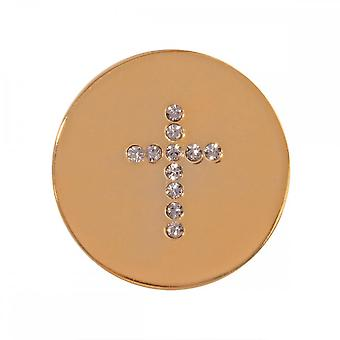 Nikki Lissoni Sparkling Cross Small Gold Plated Coin C1201GS