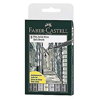 Faber-Castell 8 x Pitt Artist Pens (Soft Brush) Shades of Grey