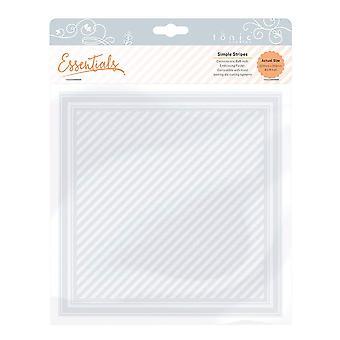 Tonic Studios Simple Stripes Embossing Folder, Clear, 8 x 8-Inch