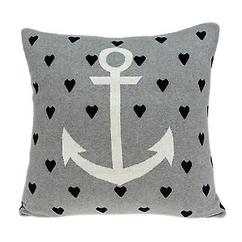 Grey White and Black Nautical Anchor Pillow Cover