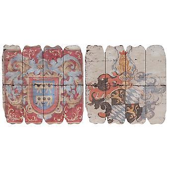 Wooden Wall Plaque, Multicolor, Set of 2
