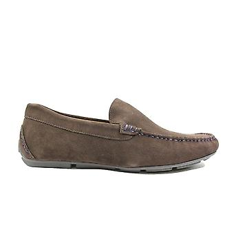Steptronic Dustin Brown Suede Leather Mens Slip On Loafer Shoes