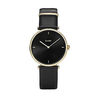 CLUSE Triomphe Gold PVD Case Black Leather Strap Ladies Watch CW0101208006