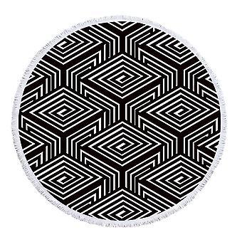 Toalha de praia 3D preto e branco dos quadrados