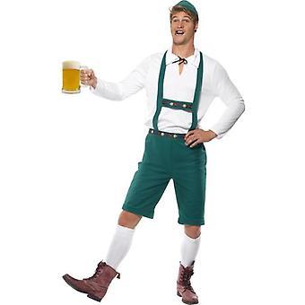 Smiffys Oktoberfest Costume Green Lederhosen Shorts With Braces Top And Hat