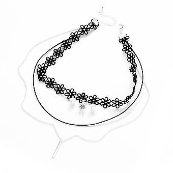 Layered pearl choker necklace created with swarovski® crystals