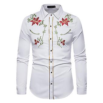 Allthemen Men 's Casual Fashion Bordado Coberto Stand-up Collar Camisa de Manga Comprida