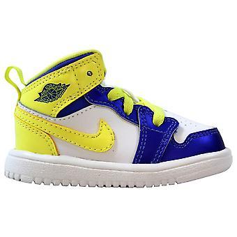 Nike Air Jordan 1 Mid Flex White/Violet Force-Electric Yellow 554727-118 Toddler