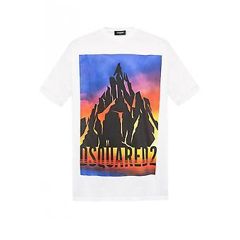 DSQUARED2 Printed Logo Oversized White T-shirt