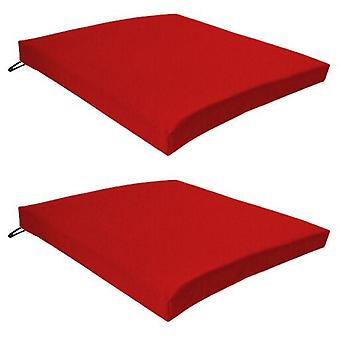 Red 2 Pack Seat Chair Cushion Outdoor Garden Tie On Waterproof Pad Zip Cover