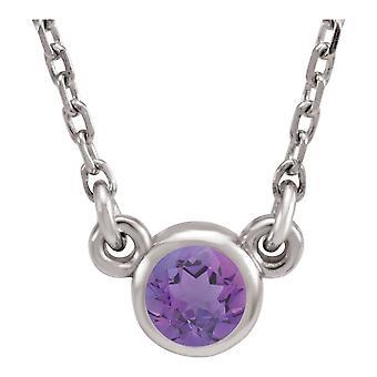 925 Sterling Silber 4mm simuliert amethyst poliert simuliert amethyst Halskette Schmuck Geschenke für Frauen