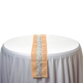 Vintage Hessian Table Runners Sewed Edge with White Lace