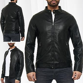 Simple biker men transition bomber jacket synthetic leather