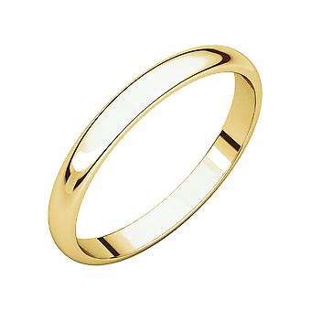 10k Yellow Gold 2.5mm Light Half Round Band Ring Jewelry Gifts for Women - Ring Size: 4 to 7