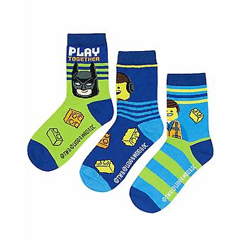 Lego Movie 2 Assorted 3 Pack Kids Blue Socks