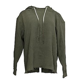 Peace Love World Women's Sweater Mock Neck Hoodie w/ Dip Dye Green A350247