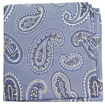 David Van Hagen Classic Paisley Silk Pocket Square - Blue
