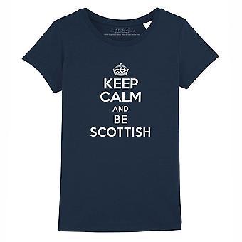 STUFF4 Girl's Round Neck T-Shirt/Keep Calm Be Scottish/Navy Blue