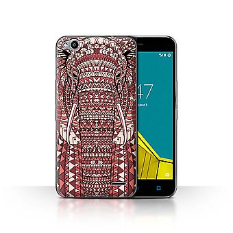 STUFF4 Case/Cover for Vodafone Smart Ultra 6/Elephant-Red/Aztec Animal Design