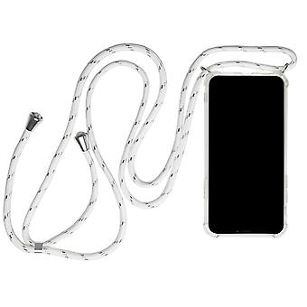Collier De coquille mobile pour iPhone 11 Rubber Protection Mobile Cover Phone Textile Strap White