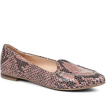 Jones Bootmaker Womens Adeline Flat Leather Ballerina Shoe with Snake Pri