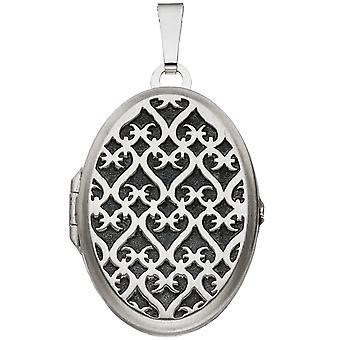 ميدالية المرأة البيضاوي 925 الاسترليني الفضة الروديوم قلادة مطفأة لفتح