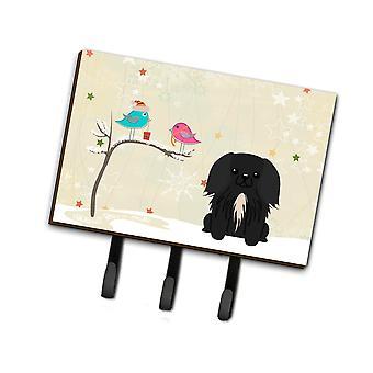 Christmas Presents between Friends Pekingnese Black Leash or Key Holder