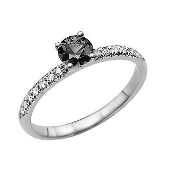 0.64 CTW 14K White Gold Black Diamond Ring with Diamonds Classic Gentle Solitaire